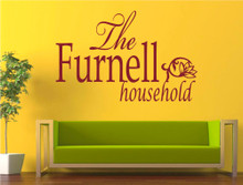household name wall art sticker red