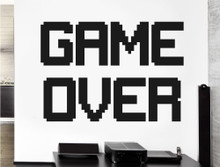 retro game over wall sticker black multiple sizes