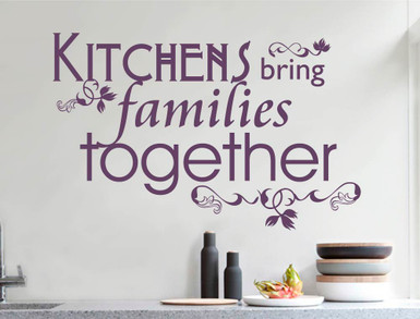 kitchens bring families together wall sticker purple