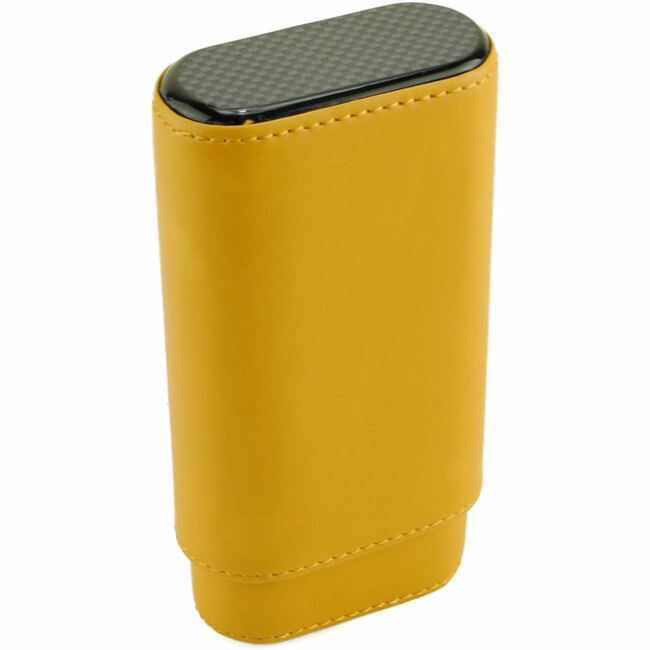 Atlantic Cigar Enzo Yellow Leather Cigar Case 3-CT