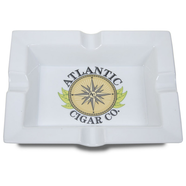 Atlantic Cigar Atlantic Logo Ashtray White