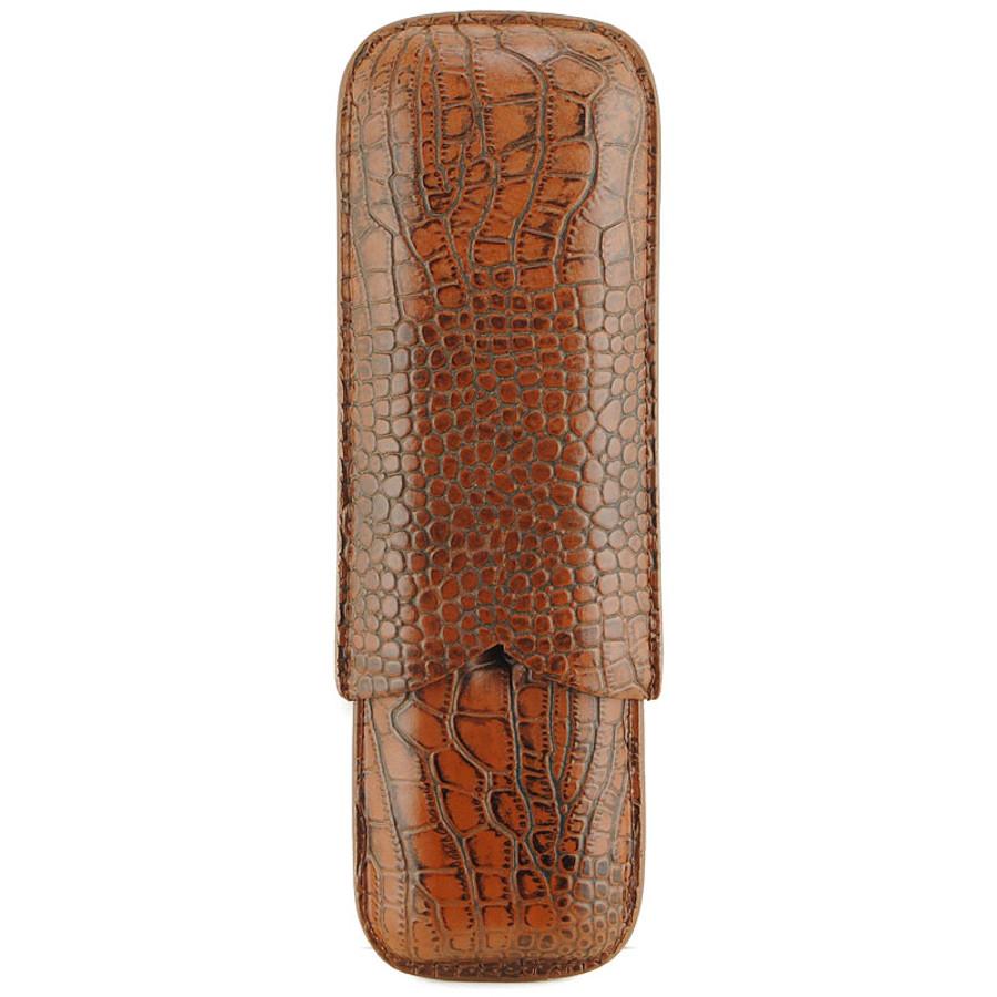 Atlantic Cigar The Croc Cigar Case (Brown) 2-CT