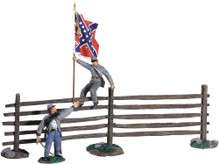 "W Britain ""Passing the Colors"" - Confederate Infantry Officer and Color Sergeant With Turnpike Fence No 31224"