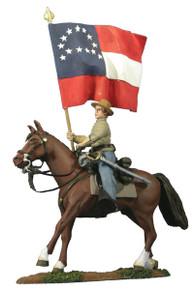 W Britain Confederate Flagbearer, General Robert E Lee's Headquarter Flag, Mounted No 31121