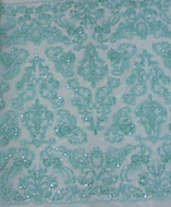 Aqua Emb. Beaded My Lady Lace