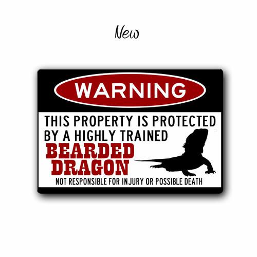 Bearded Dragon Gift Metal Bearded Dragon Warning Sign