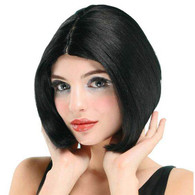 Centre Parting Wig. Black/Skin Top.