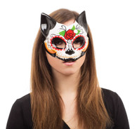 Day of the Dead Kitty Half Mask , On Glasses Frame