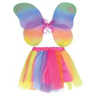 Fairy Wings + Tutu Set. Rainbow