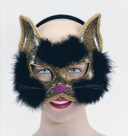 Glitter Cat Mask Black On Headband.