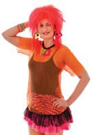 Female Orange Mesh Top.