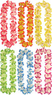 Pack of 12 Hawaiian Leis + Beads (6 Asstd Colours)