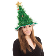 Christmas Tree Hat with Star, Tinsel and Baubles, Xmas Party Headwear