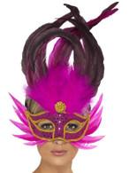 Bright Pink Feathered Eyemask  Gold Braid Edge.  One Size