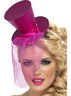 Fever Mini Top Hat on Headband, Fushia Pink