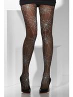 Opaque Tights, Black, Spiderweb Print