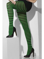 Opaque Tights, Green & Black, Striped