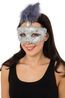 Silver Gilted Eyemask+ Tall Feather