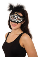 Harlequin Eyemask with Tall Feather