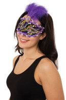 Purple/Black +Gold Eyemask with Stone