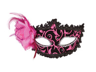 Pink/Black Eyemask with Side Feather
