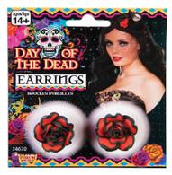 Day of the Dead Rose Earrings