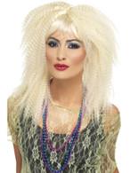 Long Layered Blonde Crimp with Fringe Wig, 80's Trademark Crimp Wig