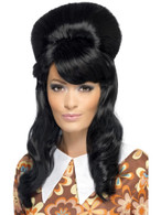 Tall Black Beehive Wig, 60's Brigitte Bouffant Wig, Black Adult Fancy Dress
