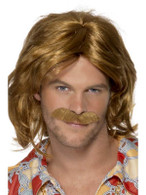 Short Brown Wavy Wig, 1970's Super Trouper Wig and Moustache. Mens
