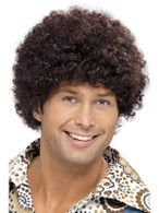 Short Brown Afro Wig, 70s Disco Dude Wig , Fancy Dress Accessory