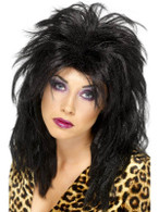 Long  Black Untidy Wig, 80s Popstar Wig. 80'S Popstar Wig,  Tousled Mullet