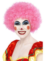 Short Pink Afro Wig, Clown Wig, Pink. Circus Fancy Dress Accessory