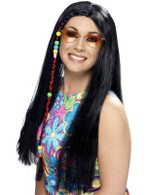 Long Black Straight Wig, Hippy Party Wig, 1960's With Coloured Beads