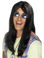 Long Black Straight Wig, Neil Hippy Wig 1960's Fancy Dress Accessory