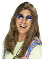 Long Brown Straight Wig, Neil Hippy Wig 1960's Fancy Dress Accessory