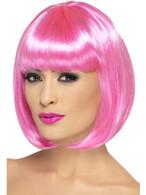 Short Pink Bob Wig, Partyrama Wig, 12 inch, With Fringe, Fancy Dress