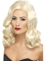 Long Blonde Wavy Wig, 20's Luscious Wig With Waves, Fancy Dress Accessory
