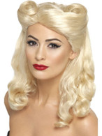 Long Blonde Wavy Wig, 40's Pin Up Wig With Victory Rolls, 1940's Fancy Dress