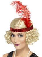Short Blonde Curly Wig, Charleston Wig With Sequin Headband 1920's