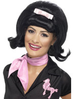 Short Black Beehive Wig, 50's Flicked Bob Wig, Fancy Dress Accessory