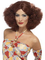 Short Auburn Afro Wig, 70's Afro Wig With Middle Parting, Fancy Dress.