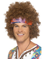 Short Brown Afro Wig, Hippy Afro, 1960's Flower Power Fancy Dress Accessory