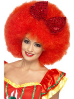 Short Red Afro Wig, Mega Afro Clown Wig With Sequin Bow Fancy Dress