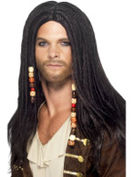 Long Black Dreadlocks Wig, Pirate Wig With Attached Headscarf And Beads