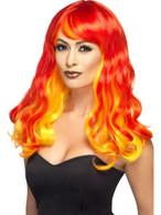 Ombre Devil Flame Wig, Halloween Fancy Dress Accessories, Fancy Dress
