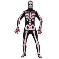 DAY OF THE DEAD DISAPPEARING MAN, HALLOWEEN FANCY DRESS COSTUME, CHEST 42""