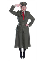 WW2 ARMY OFFICER LADY, HALLOWEEN FANCY DRESS COSTUME, UK SIZE 10-14