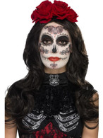 Day of the Dead Glamour Make-Up Kit, Halloween Fancy Dress, BLACK