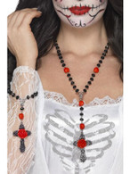 Day of the Dead Rosary Bead Set, Adult Fancy Dress Costumes, BLACK