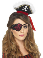 Ladies Pirate Eyepatch, Red with Black Lace